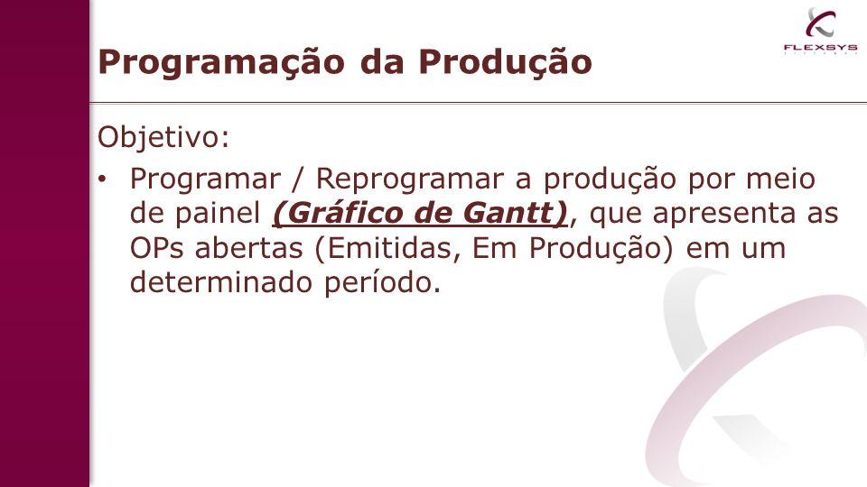 Programação da Produção Objetivo: Programar / Reprogramar a produção por meio de painel (Gráfico de Gantt), que apresenta as OPs abertas (Emitidas, Em Produção) em um determinado período.