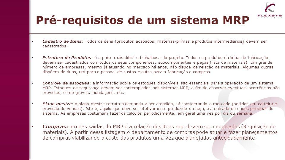 Pré-requisitos de um sistema MRP Cadastro de Itens: Todos os itens (produtos acabados, matérias-primas e produtos intermediários) devem ser cadastrado