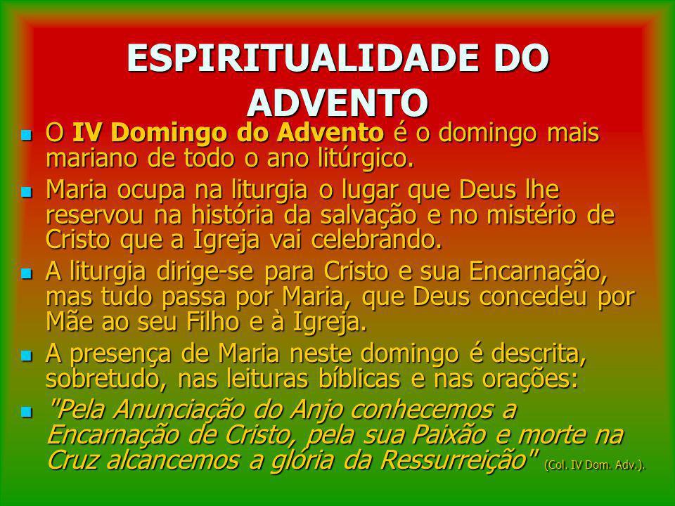 ESPIRITUALIDADE DO ADVENTO O IV Domingo do Advento é o domingo mais mariano de todo o ano litúrgico. O IV Domingo do Advento é o domingo mais mariano