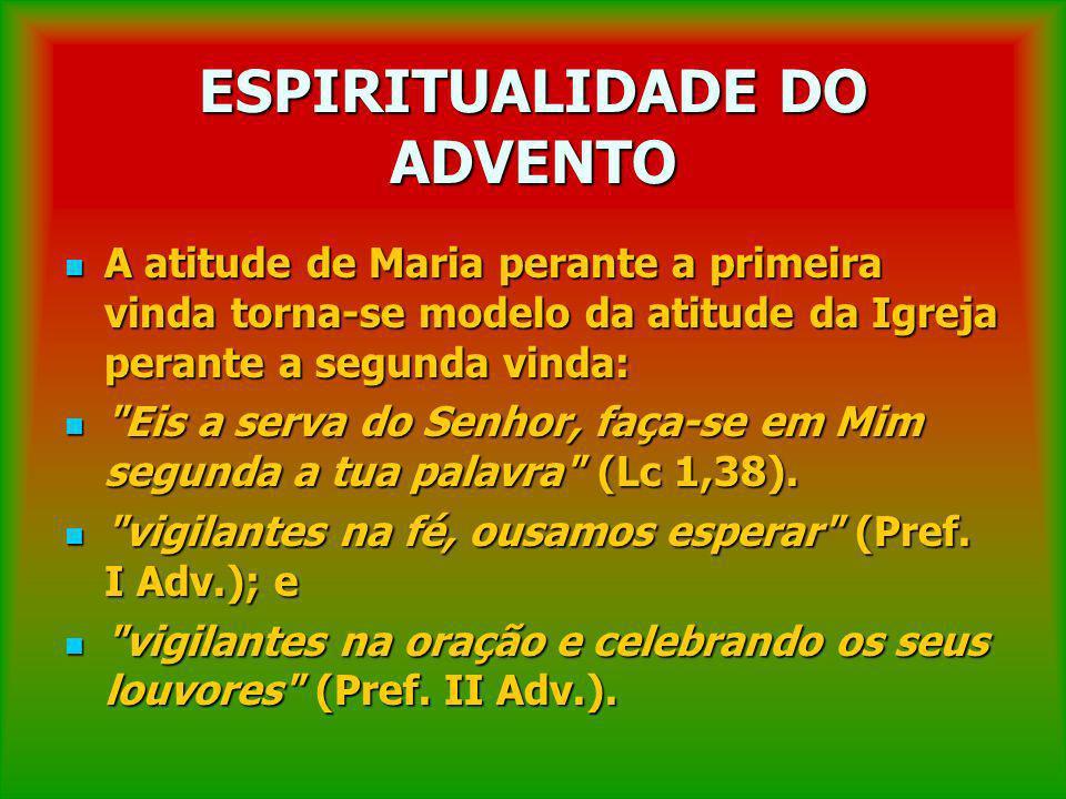 ESPIRITUALIDADE DO ADVENTO A atitude de Maria perante a primeira vinda torna-se modelo da atitude da Igreja perante a segunda vinda: A atitude de Mari