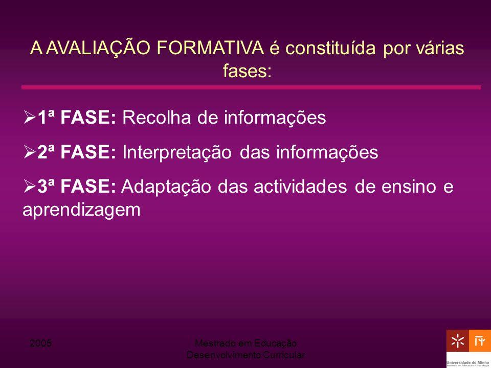 2005Mestrado em Educação Desenvolvimento Curricular A AVALIAÇÃO FORMATIVA é constituída por várias fases: 1ª FASE: Recolha de informações 2ª FASE: Int