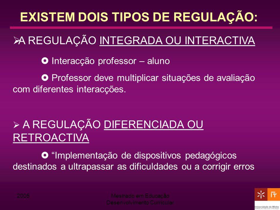 2005Mestrado em Educação Desenvolvimento Curricular EXISTEM DOIS TIPOS DE REGULAÇÃO: A REGULAÇÃO INTEGRADA OU INTERACTIVA Interacção professor – aluno