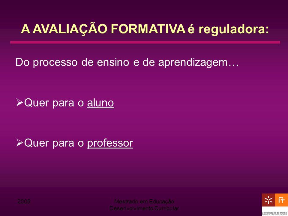 2005Mestrado em Educação Desenvolvimento Curricular A AVALIAÇÃO FORMATIVA é reguladora: Do processo de ensino e de aprendizagem… Quer para o aluno Que
