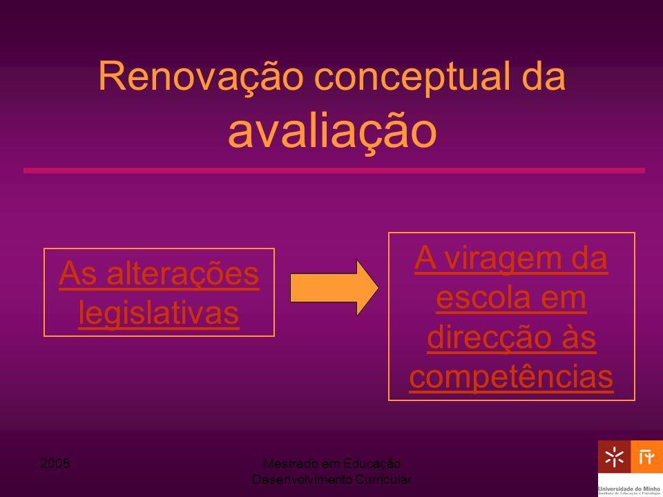 2005Mestrado em Educação Desenvolvimento Curricular Renovação conceptual da avaliação As alterações legislativas A viragem da escola em direcção às co