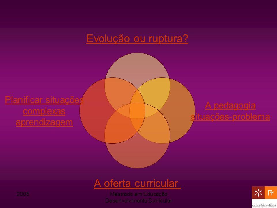 2005Mestrado em Educação Desenvolvimento Curricular Evolução ou ruptura? A pedagogia situações- problema A oferta curricular Planificar situações comp