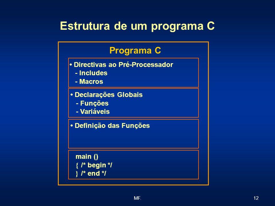 12MF. Estrutura de um programa C Programa C Directivas ao Pré-Processador - Includes - Macros Declarações Globais - Funções - Variáveis Definição das