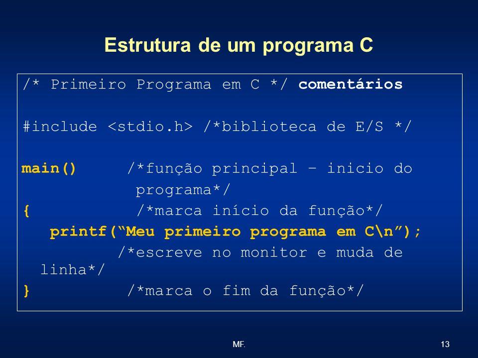 13MF. Estrutura de um programa C /* Primeiro Programa em C */ comentários #include /*biblioteca de E/S */ main() /*função principal – inicio do progra
