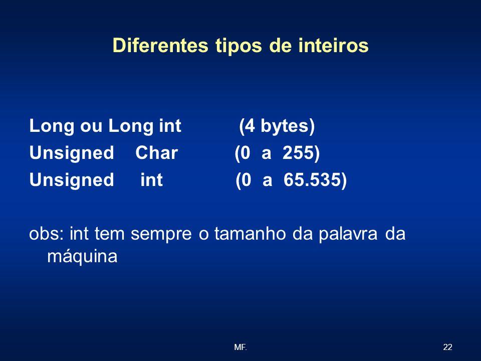 22MF. Diferentes tipos de inteiros Long ou Long int (4 bytes) Unsigned Char (0 a 255) Unsigned int (0 a 65.535) obs: int tem sempre o tamanho da palav