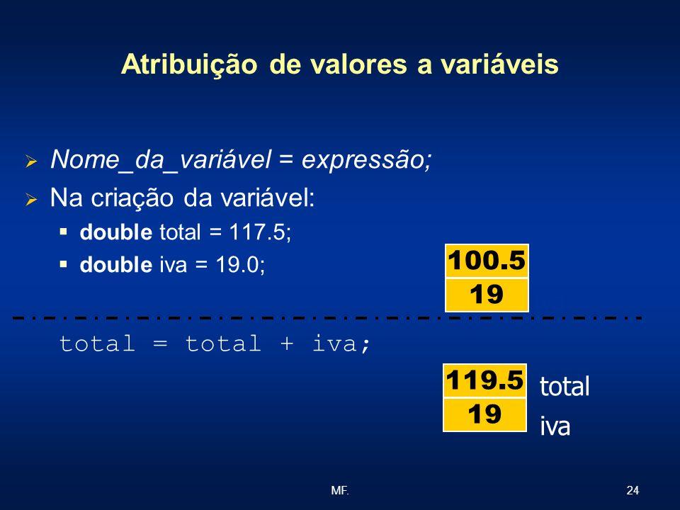 24MF. Atribuição de valores a variáveis Nome_da_variável = expressão; Na criação da variável: double total = 117.5; double iva = 19.0; total iva 19 10