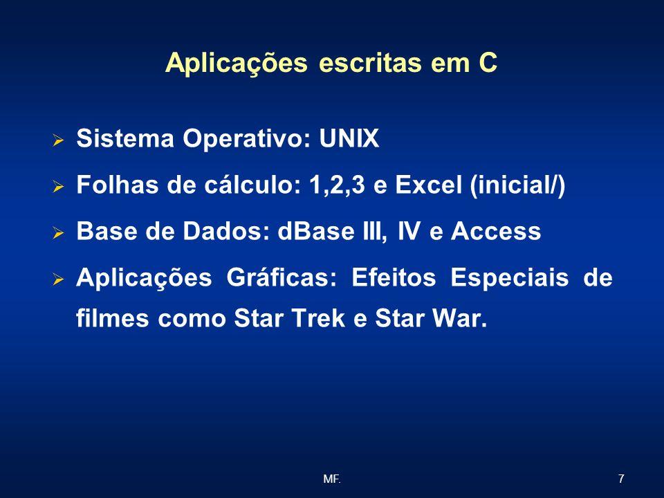 7MF. Aplicações escritas em C Sistema Operativo: UNIX Folhas de cálculo: 1,2,3 e Excel (inicial/) Base de Dados: dBase III, IV e Access Aplicações Grá