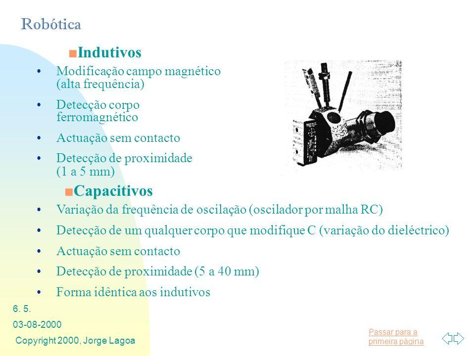 Passar para a primeira página Robótica 03-08-2000 Copyright 2000, Jorge Lagoa 6. 5. Indutivos Modificação campo magnético (alta frequência) Detecção c