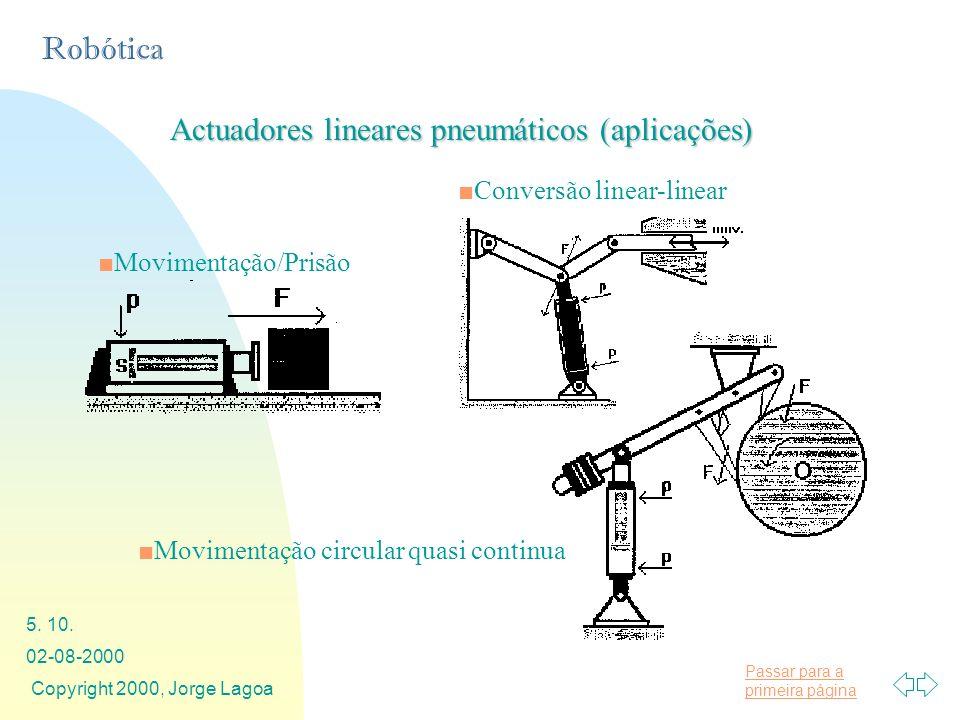Passar para a primeira página Robótica 02-08-2000 Copyright 2000, Jorge Lagoa 5. 10. Actuadores lineares pneumáticos (aplicações) Conversão linear-lin