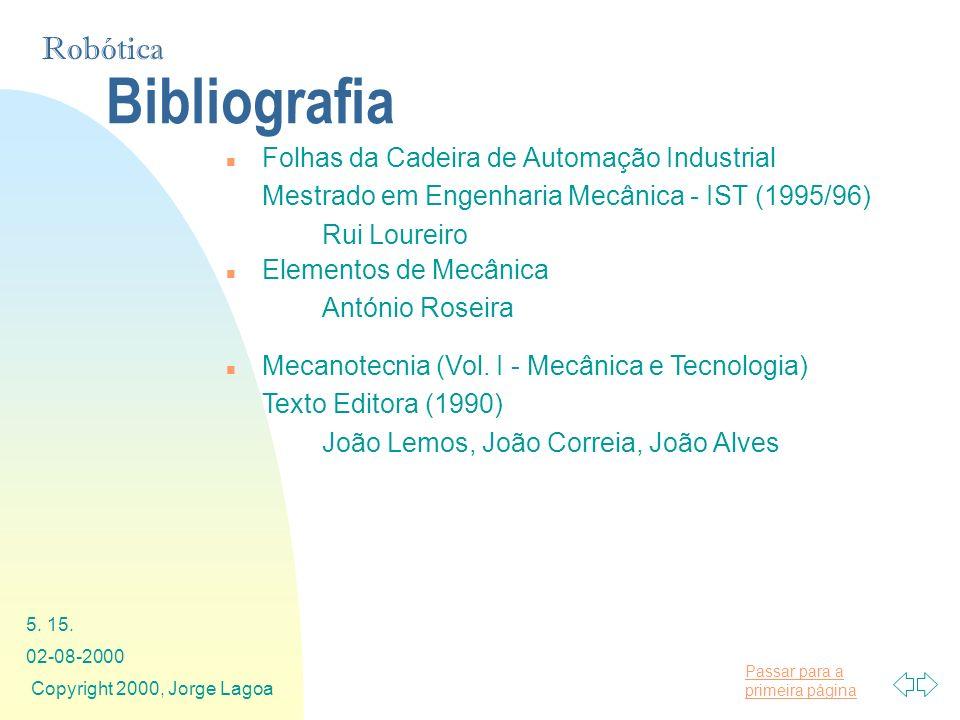 Passar para a primeira página Robótica 02-08-2000 Copyright 2000, Jorge Lagoa 5. 15. Bibliografia n Folhas da Cadeira de Automação Industrial Mestrado