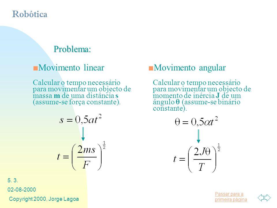 Passar para a primeira página Robótica 02-08-2000 Copyright 2000, Jorge Lagoa 5. 3. Problema: Movimento linearMovimento angular Calcular o tempo neces