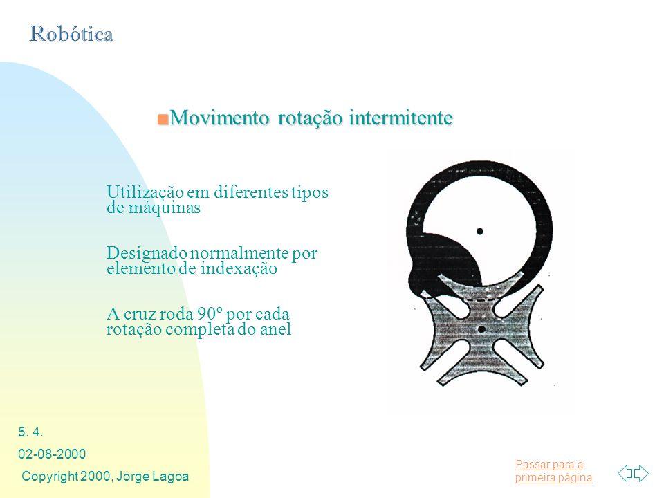 Passar para a primeira página Robótica 02-08-2000 Copyright 2000, Jorge Lagoa 5. 4. Movimento rotação intermitenteMovimento rotação intermitente Utili