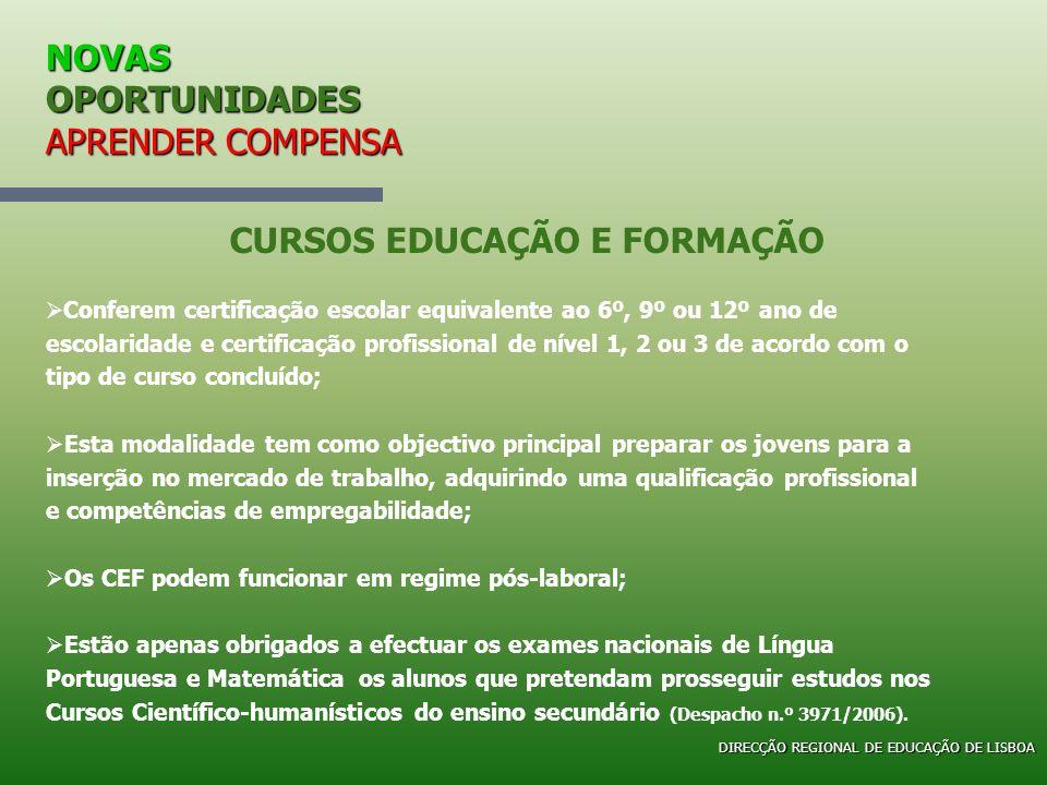 NOVAS OPORTUNIDADES APRENDER COMPENSA Conferem certificação escolar equivalente ao 6º, 9º ou 12º ano de escolaridade e certificação profissional de ní