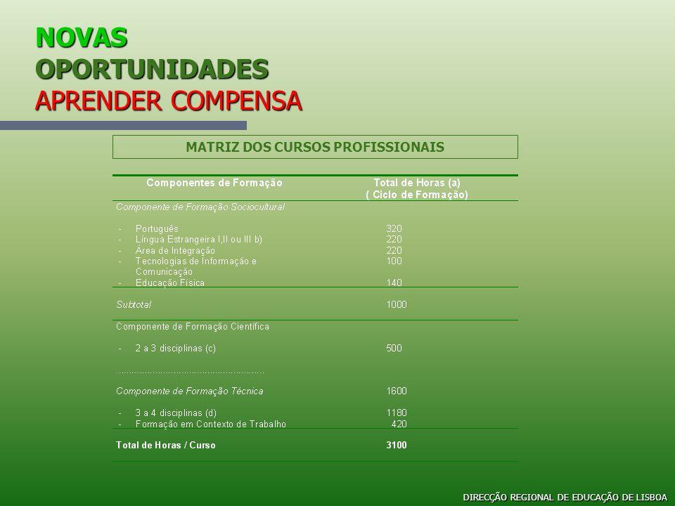 NOVAS OPORTUNIDADES APRENDER COMPENSA MATRIZ DOS CURSOS PROFISSIONAIS DIRECÇÃO REGIONAL DE EDUCAÇÃO DE LISBOA