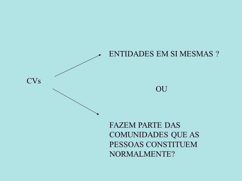 CVs ENTIDADES EM SI MESMAS OU FAZEM PARTE DAS COMUNIDADES QUE AS PESSOAS CONSTITUEM NORMALMENTE