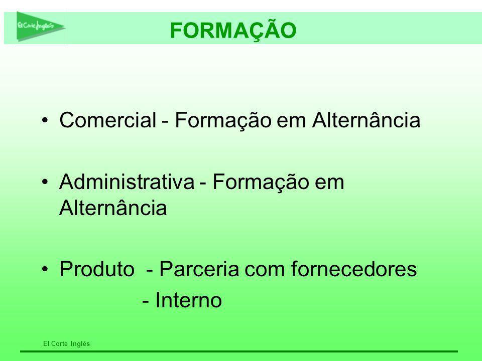 El Corte Inglés FORMAÇÃO Comercial - Formação em Alternância Administrativa - Formação em Alternância Produto - Parceria com fornecedores - Interno