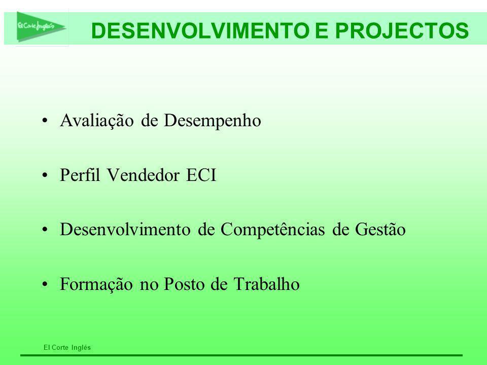 El Corte Inglés DESENVOLVIMENTO E PROJECTOS Avaliação de Desempenho Perfil Vendedor ECI Desenvolvimento de Competências de Gestão Formação no Posto de