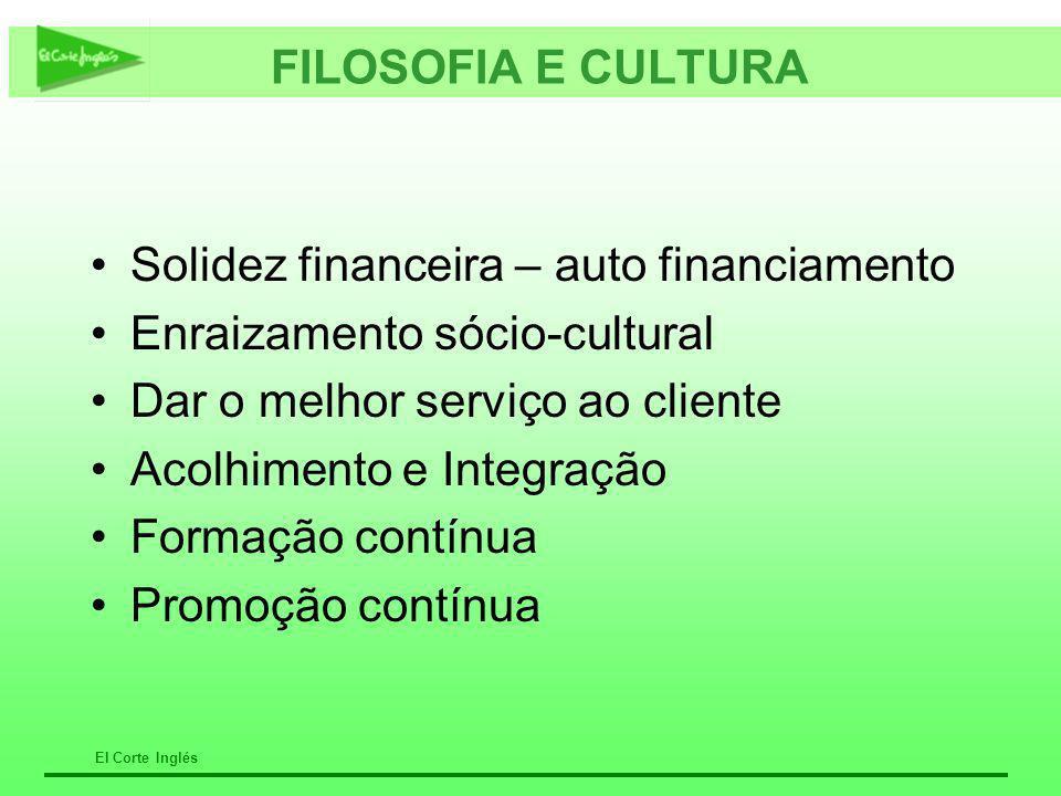 El Corte Inglés FILOSOFIA E CULTURA Solidez financeira – auto financiamento Enraizamento sócio-cultural Dar o melhor serviço ao cliente Acolhimento e