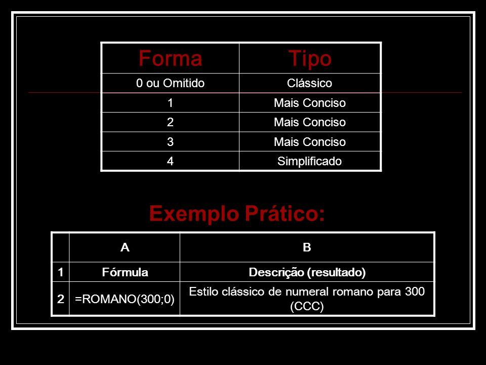 Exemplo Prático: AB 1FórmulaDescrição (resultado) 2=ROMANO(300;0) Estilo clássico de numeral romano para 300 (CCC) FormaTipo 0 ou OmitidoClássico 1Mais Conciso 2 3 4Simplificado