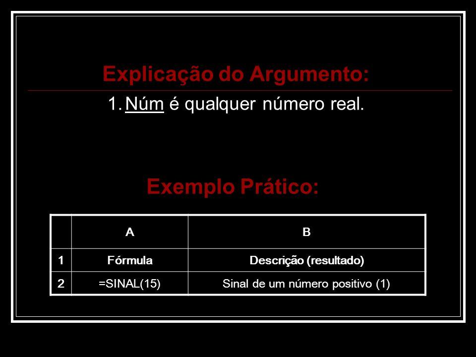 Explicação do Argumento: 1.Núm é qualquer número real.