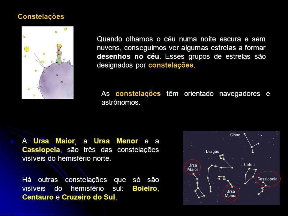 Constelações Quando olhamos o céu numa noite escura e sem nuvens, conseguimos ver algumas estrelas a formar desenhos no céu. Esses grupos de estrelas