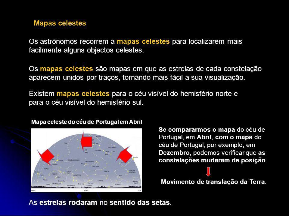 Mapas celestes Os astrónomos recorrem a mapas celestes para localizarem mais facilmente alguns objectos celestes. Se compararmos o mapa do céu de Port