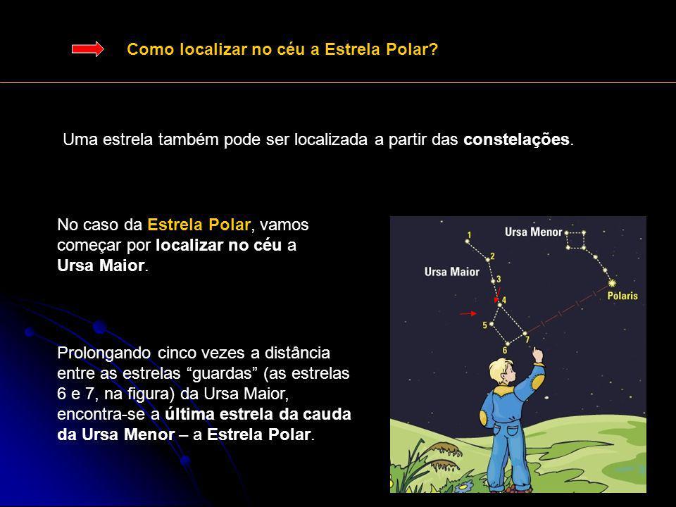 Como localizar no céu a Estrela Polar? Uma estrela também pode ser localizada a partir das constelações. No caso da Estrela Polar, vamos começar por l