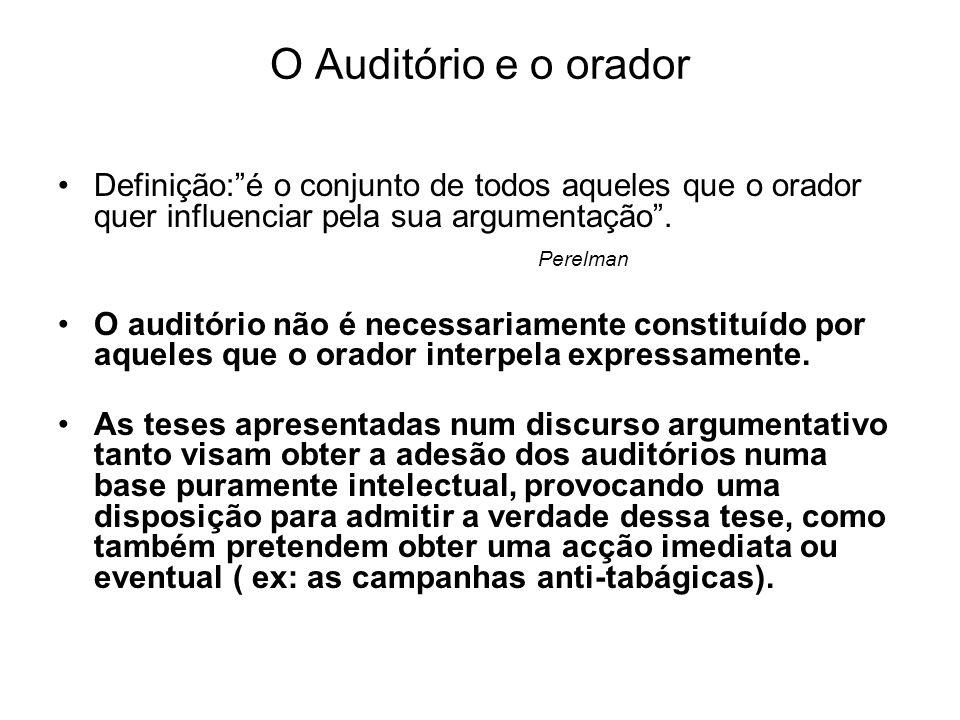 O Auditório e o orador Definição:é o conjunto de todos aqueles que o orador quer influenciar pela sua argumentação. Perelman O auditório não é necessa