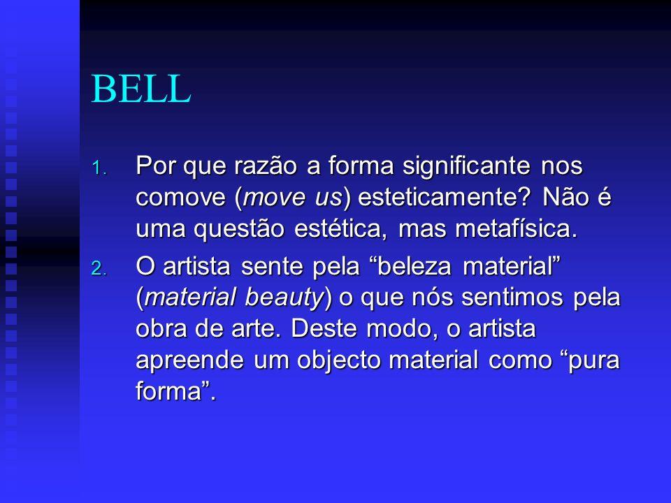 BELL 1.Por que razão a forma significante nos comove (move us) esteticamente.