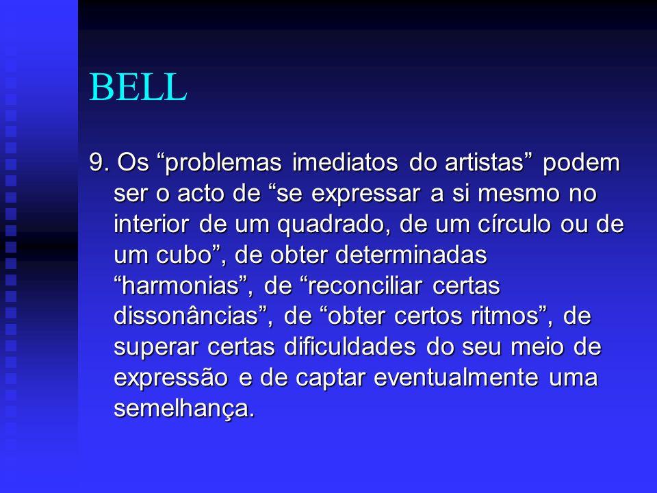 BELL 9. Os problemas imediatos do artistas podem ser o acto de se expressar a si mesmo no interior de um quadrado, de um círculo ou de um cubo, de obt