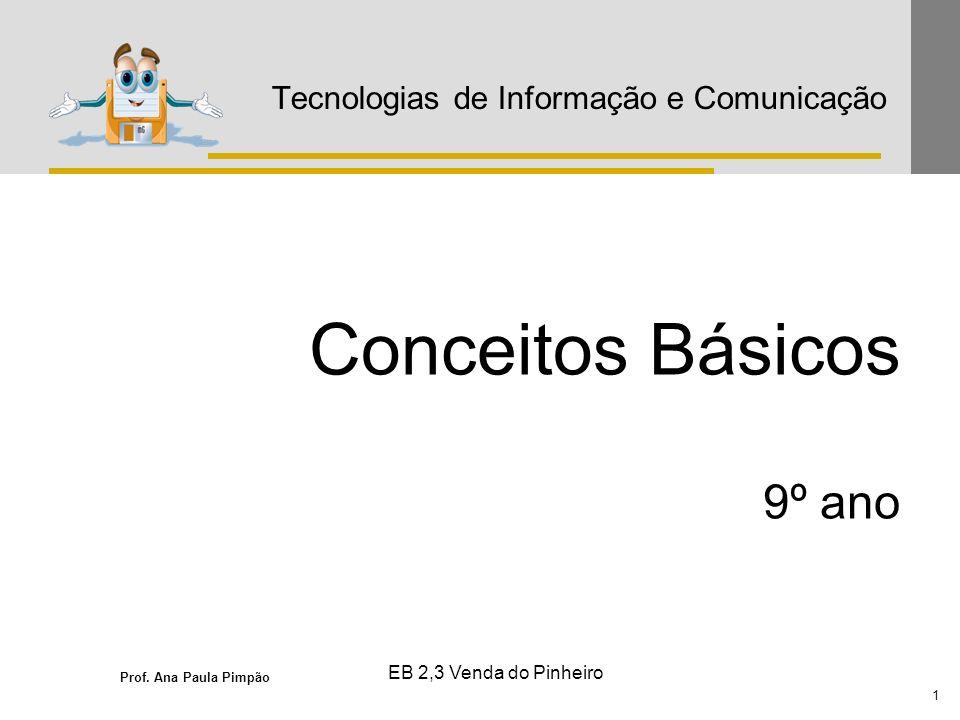 Prof. Ana Paula Pimpão 1 EB 2,3 Venda do Pinheiro Tecnologias de Informação e Comunicação Conceitos Básicos 9º ano