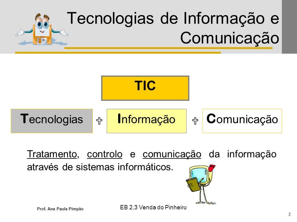 Prof. Ana Paula Pimpão 3 EB 2,3 Venda do Pinheiro Tecnologias de Informação e Comunicação TIC T ecnologias I nformação C omunicação Tratamento, contro