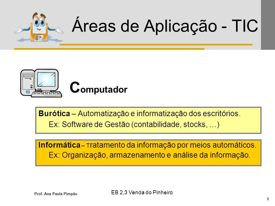 Prof. Ana Paula Pimpão 8 EB 2,3 Venda do Pinheiro Áreas de Aplicação - TIC C omputador Burótica – Automatização e informatização dos escritórios. Ex: