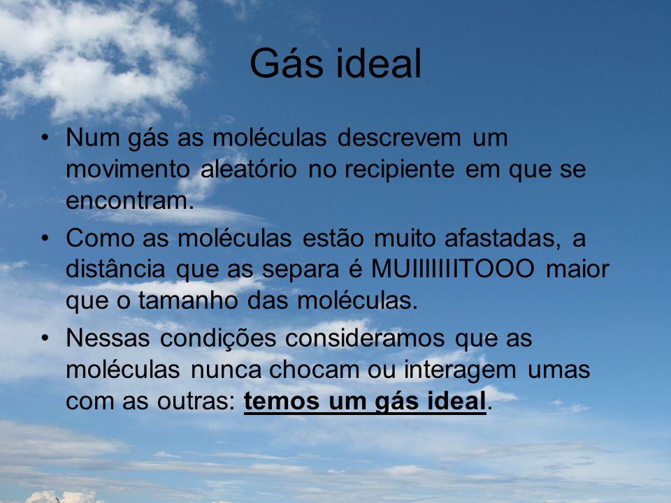 Gás ideal Num gás as moléculas descrevem um movimento aleatório no recipiente em que se encontram. Como as moléculas estão muito afastadas, a distânci