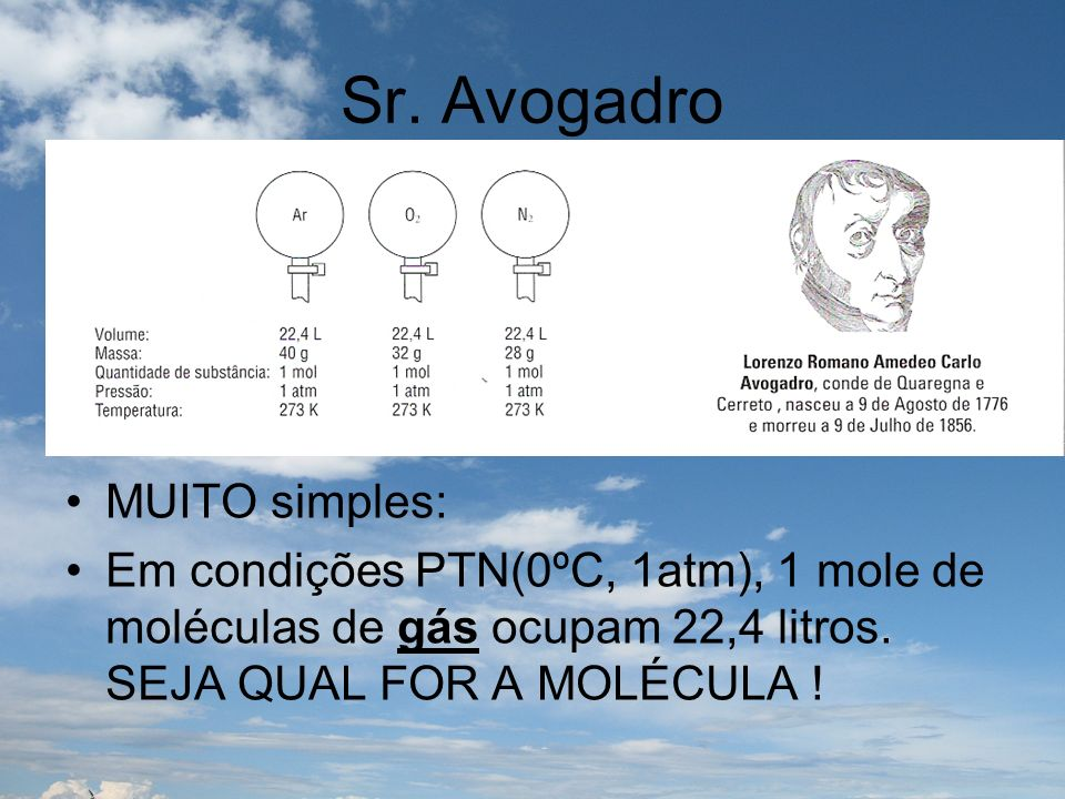 Sr. Avogadro MUITO simples: Em condições PTN(0ºC, 1atm), 1 mole de moléculas de gás ocupam 22,4 litros. SEJA QUAL FOR A MOLÉCULA!