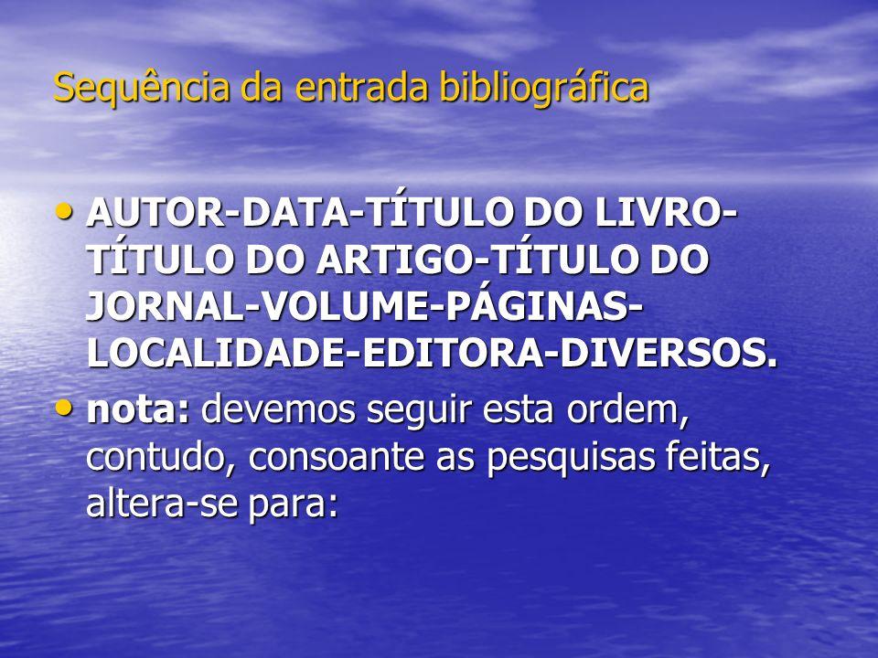 Sequência da entrada bibliográfica AUTOR-DATA-TÍTULO DO LIVRO- TÍTULO DO ARTIGO-TÍTULO DO JORNAL-VOLUME-PÁGINAS- LOCALIDADE-EDITORA-DIVERSOS. AUTOR-DA