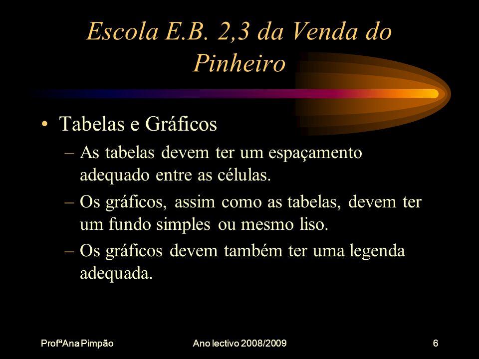 ProfªAna PimpãoAno lectivo 2008/20096 Escola E.B.
