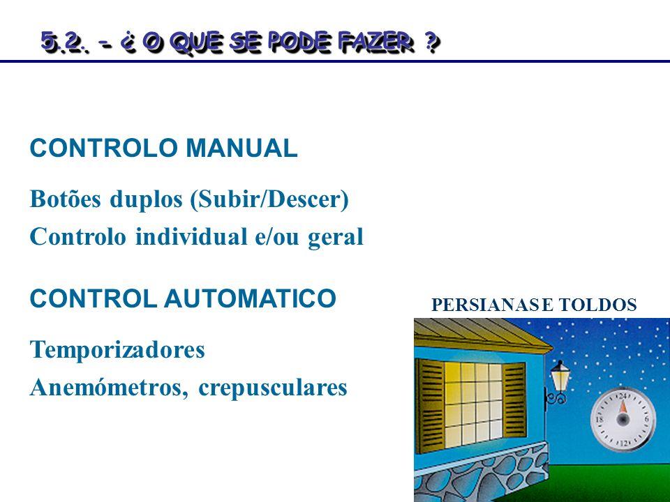 CONTROLO MANUAL Botões duplos (Subir/Descer) Controlo individual e/ou geral CONTROL AUTOMATICO Temporizadores Anemómetros, crepusculares PERSIANAS E T