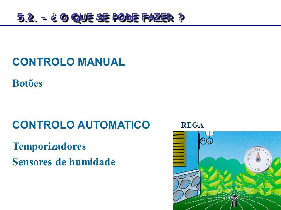 CONTROLO MANUAL Botões CONTROLO AUTOMATICO Temporizadores Sensores de humidade REGA 5.2. - ¿ O QUE SE PODE FAZER? 5.2. - ¿ O QUE SE PODE FAZER ?