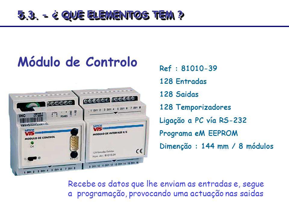 Ref : 81010-39 128 Entradas 128 Saidas 128 Temporizadores Ligação a PC vía RS-232 Programa eM EEPROM Dimenção : 144 mm / 8 módulos Módulo de Controlo