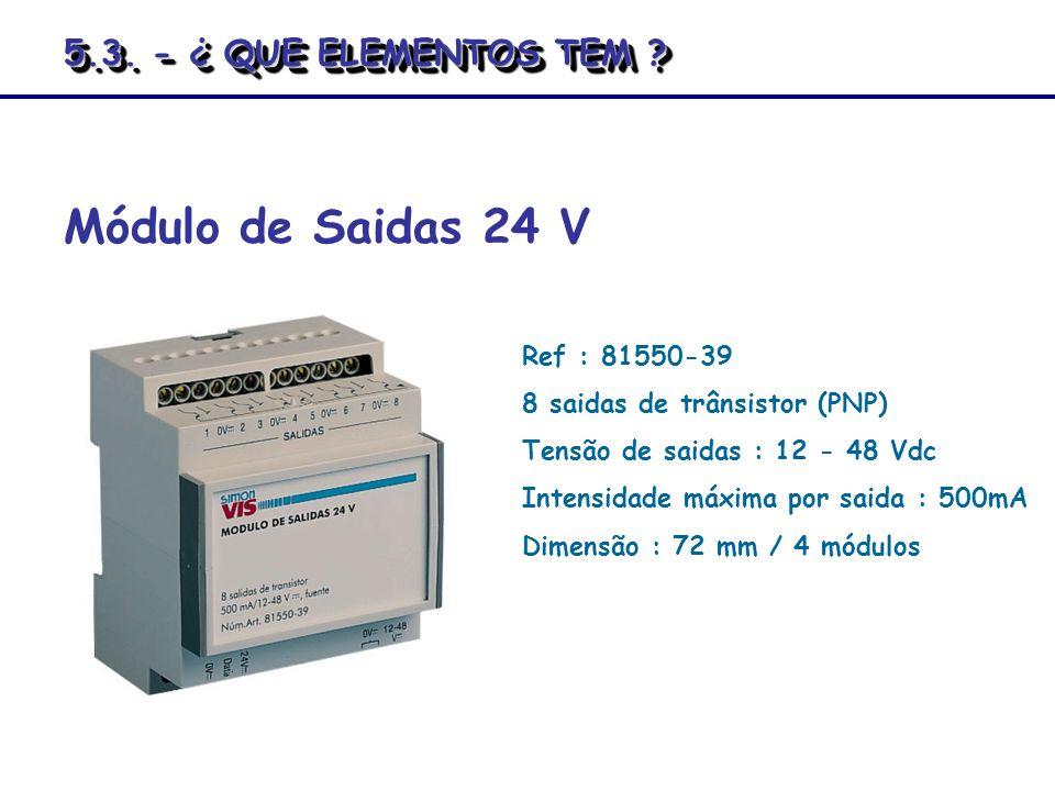 Ref : 81550-39 8 saidas de trânsistor (PNP) Tensão de saidas : 12 - 48 Vdc Intensidade máxima por saida : 500mA Dimensão : 72 mm / 4 módulos Módulo de