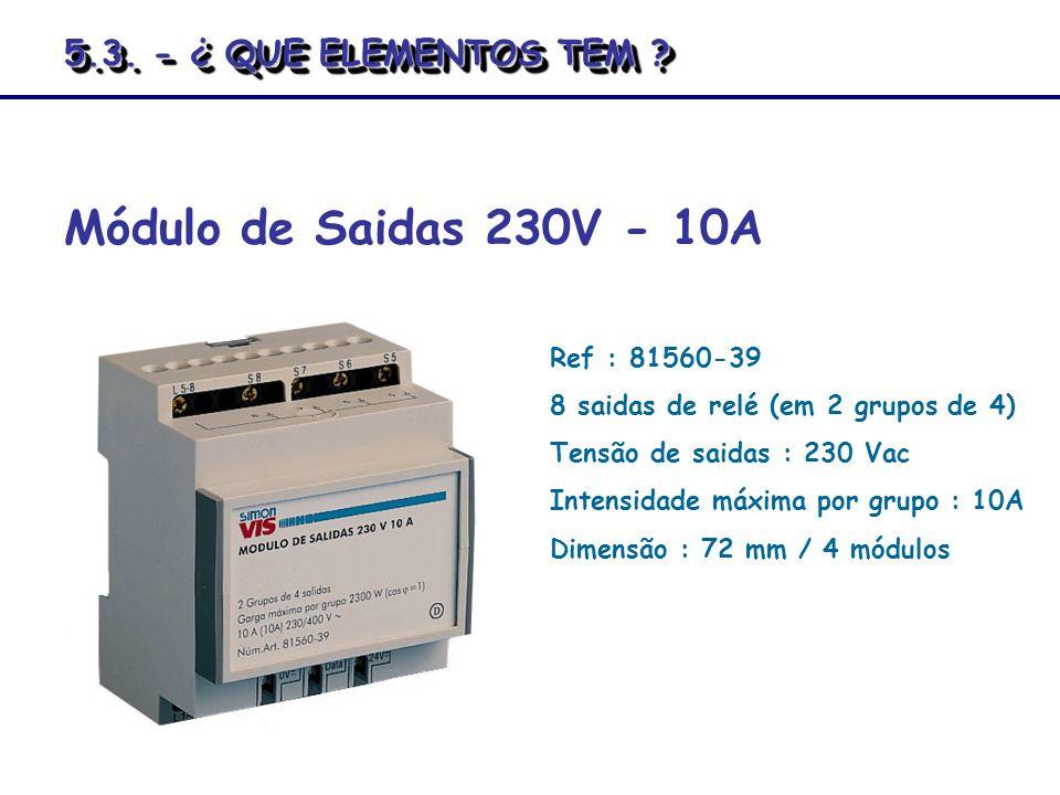 Ref : 81560-39 8 saidas de relé (em 2 grupos de 4) Tensão de saidas : 230 Vac Intensidade máxima por grupo : 10A Dimensão : 72 mm / 4 módulos Módulo d