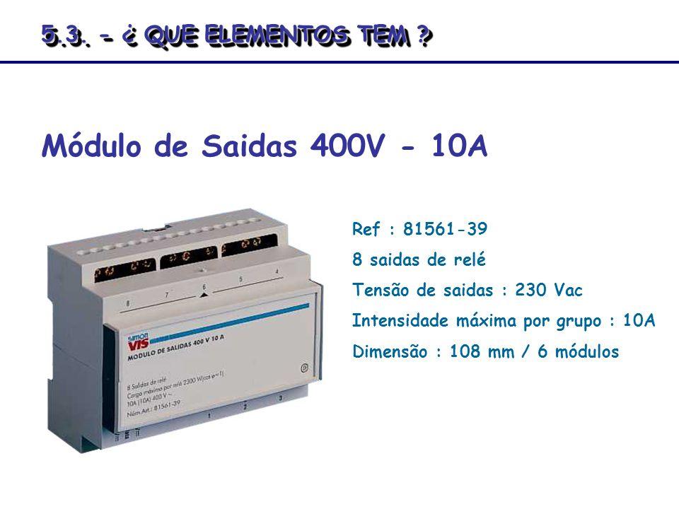 Módulo de Saidas 400V - 10A Ref : 81561-39 8 saidas de relé Tensão de saidas : 230 Vac Intensidade máxima por grupo : 10A Dimensão : 108 mm / 6 módulo