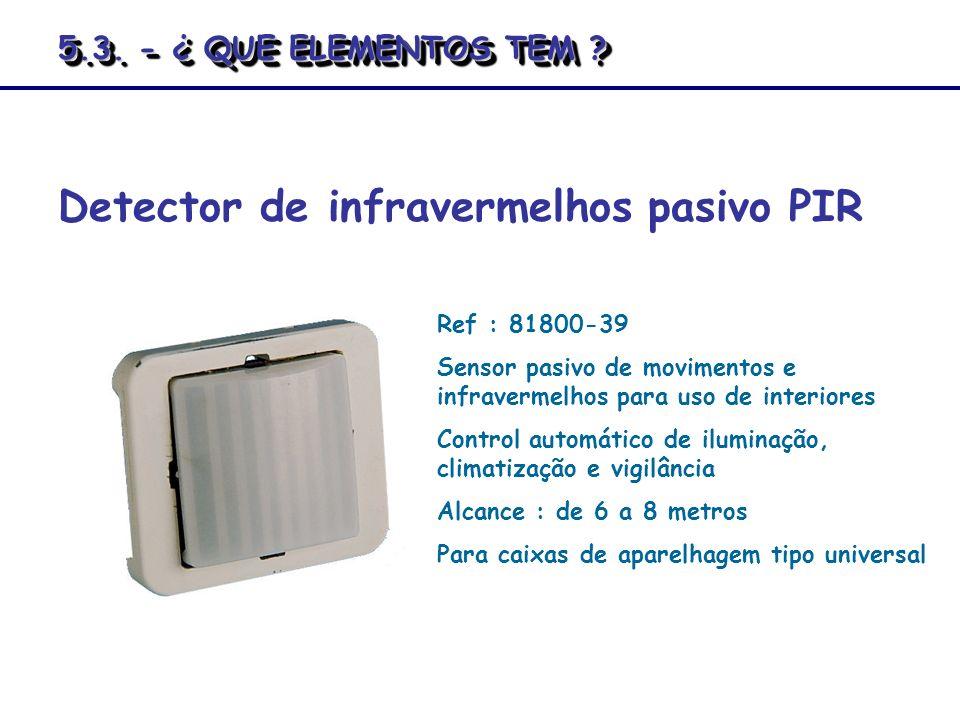 Detector de infravermelhos pasivo PIR Ref : 81800-39 Sensor pasivo de movimentos e infravermelhos para uso de interiores Control automático de ilumina