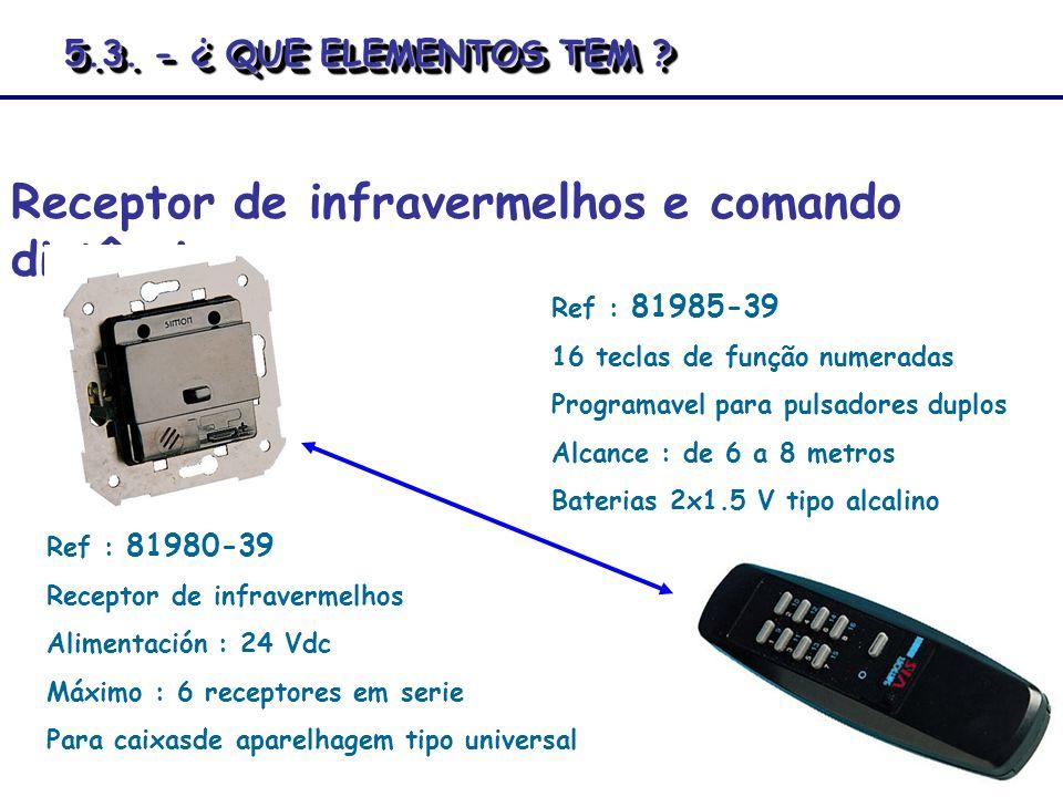 Receptor de infravermelhos e comando distância Ref : 81980-39 Receptor de infravermelhos Alimentación : 24 Vdc Máximo : 6 receptores em serie Para cai