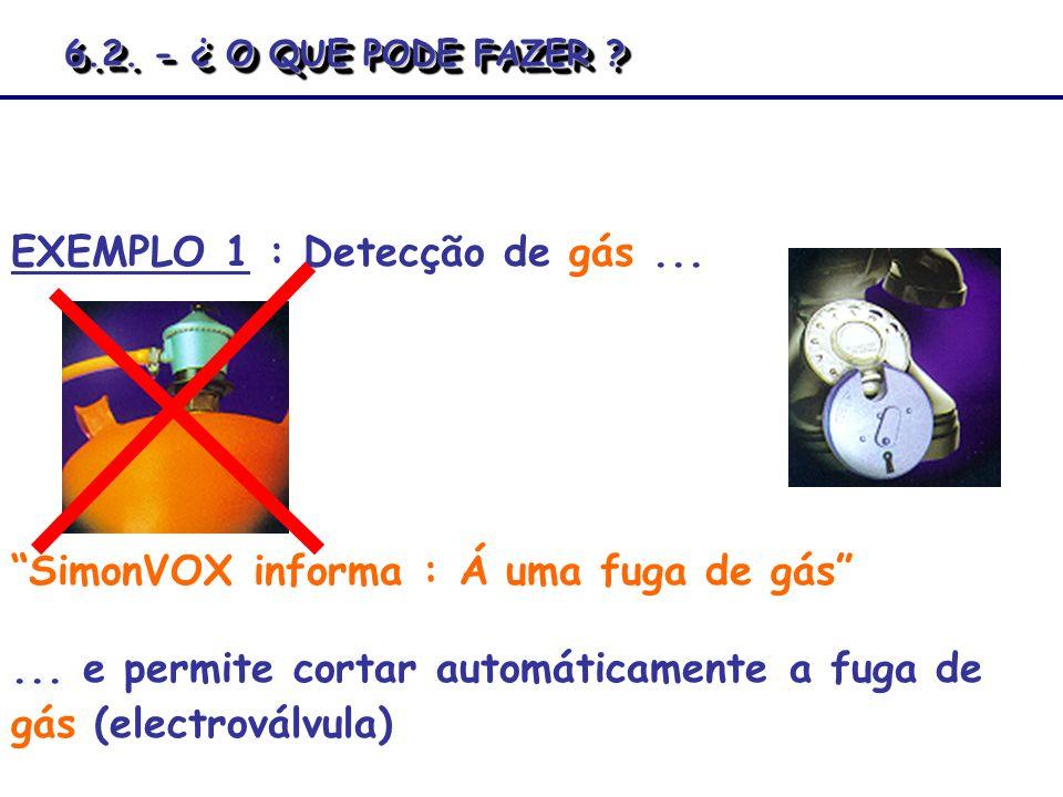 EXEMPLO 1 : Detecção de gás... SimonVOX informa : Á uma fuga de gás... e permite cortar automáticamente a fuga de gás (electroválvula) 6.2. - ¿ O QUE