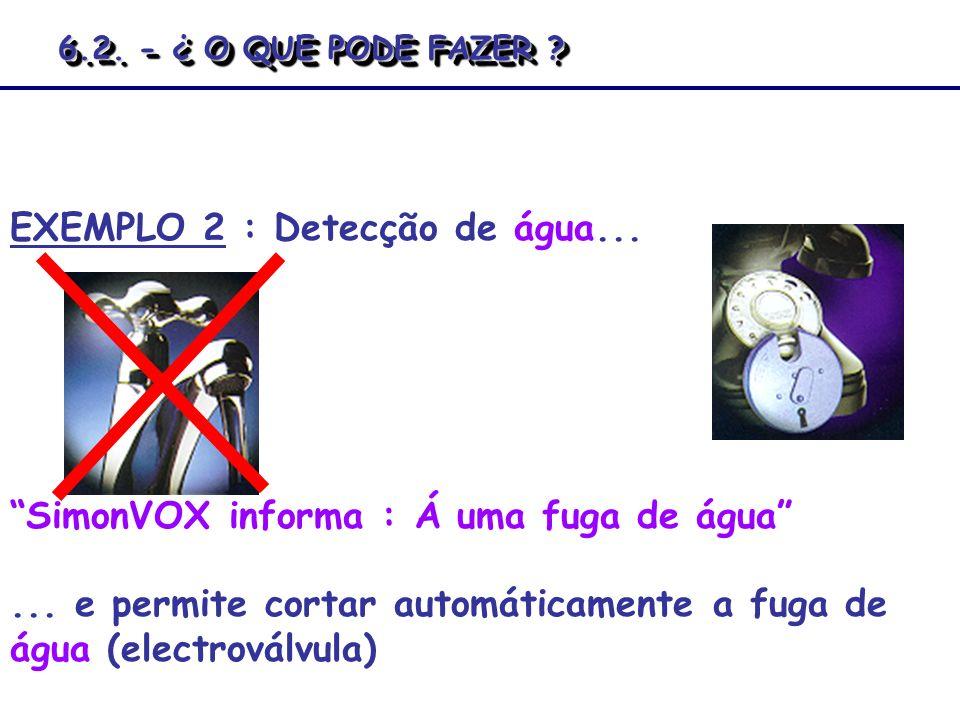 SimonVOX informa : Á uma fuga de água... e permite cortar automáticamente a fuga de água (electroválvula) EXEMPLO 2 : Detecção de água... 6.2. - ¿ O Q